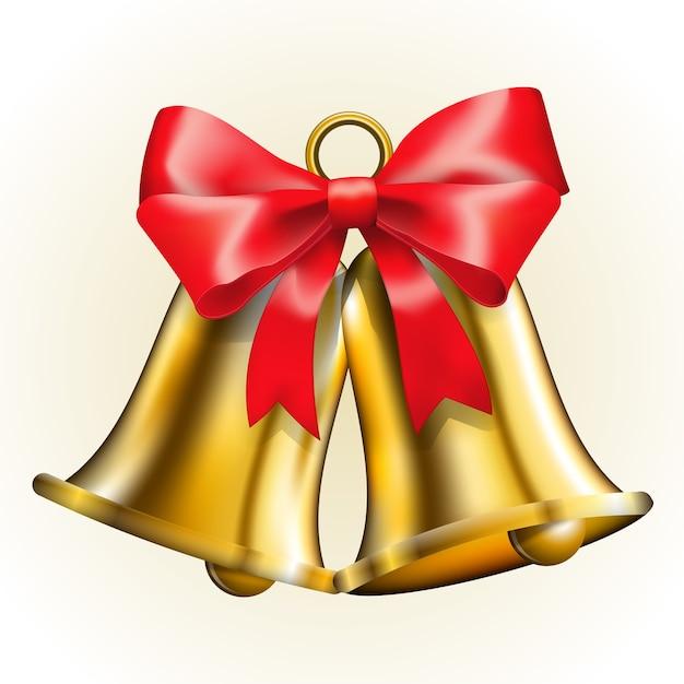 Złote Dzwony Z Czerwoną Kokardką Darmowych Wektorów