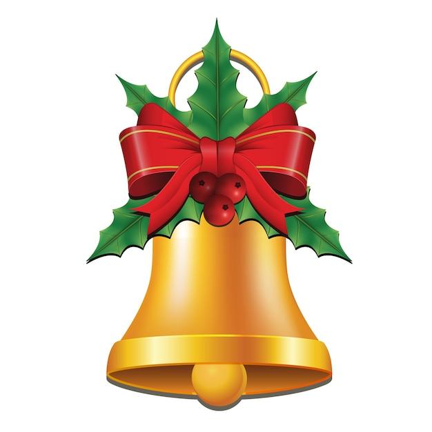Złote Dzwony Ze Wstążką I Ostrokrzewem Na Boże Narodzenie Premium Wektorów
