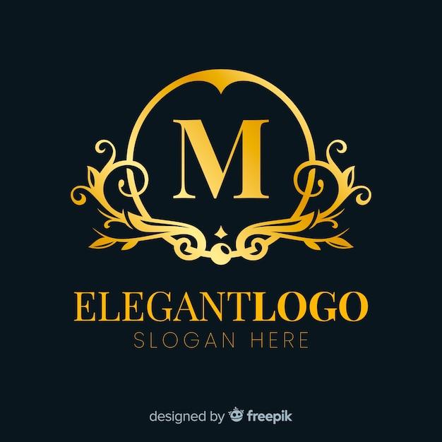 Złote eleganckie logo płaski kształt Darmowych Wektorów