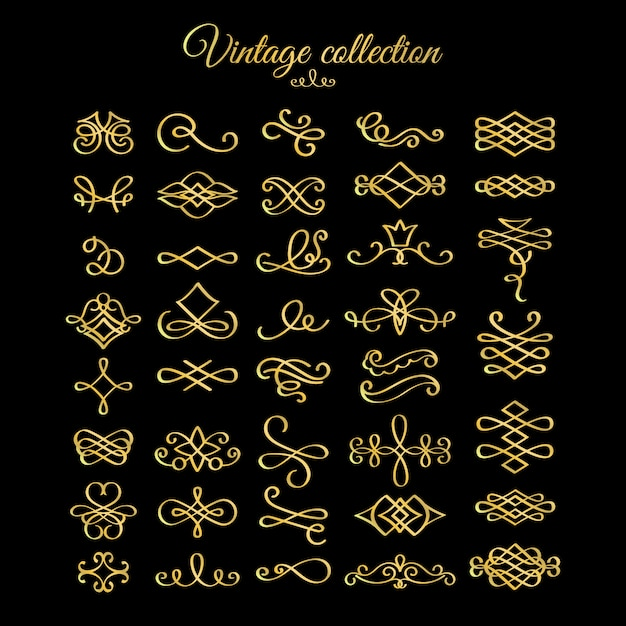 Złote elementy kaligraficzne kwitnie Premium Wektorów