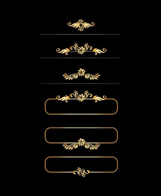 Złote Elementy Kaligrafii. Złote Obramowanie Menu I Zaproszenia, Ramka, Dzielnik, Wystrój Strony. Darmowych Wektorów