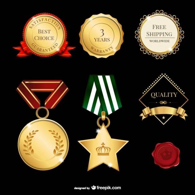 Złote etykiety spakować Darmowych Wektorów