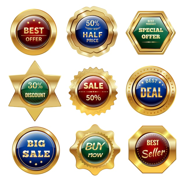 Złote etykiety sprzedaży Darmowych Wektorów