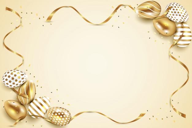 Złote I Białe Pisanki Ramki Ze Złotym Tle Wstążki I Konfetti Premium Wektorów