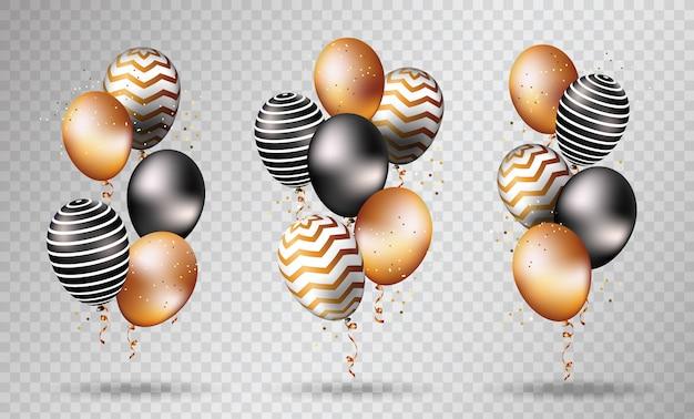 Złote I Czarne Balony Na Przezroczystym Premium Wektorów