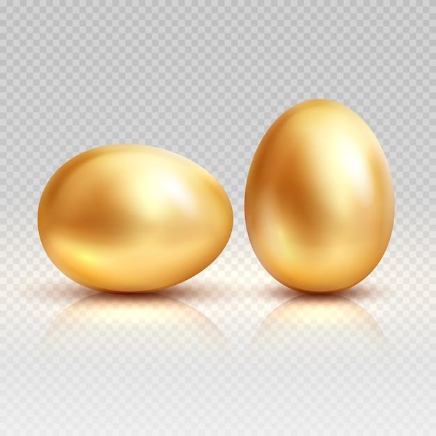 Złote jaja realistyczne ilustracja na wielkanoc kartkę z życzeniami. Premium Wektorów