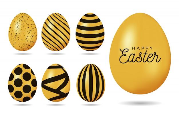 Złote Jajko Wielkanocne. Wesołych świąt Wielkanocnych 7 Realistycznych Złotych Zestawów Zdobionych Jaj Premium Wektorów