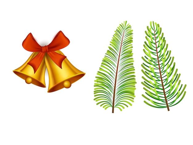 Złote Jingle Bells Z Liśćmi Jodły Na Białym Tle. Premium Wektorów