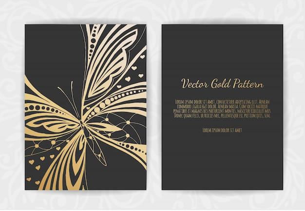 Złote karty z pozdrowieniami na czarno Premium Wektorów