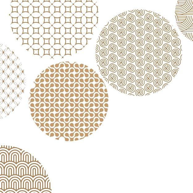 Złote Kółka Z Różnymi Geometrycznymi Wzorami Na Bielu Z Maską Przycinającą Premium Wektorów