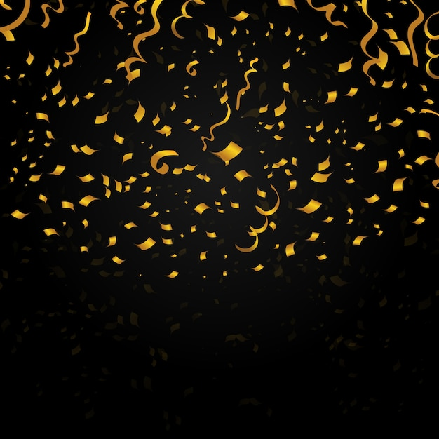 Złote Konfetti Na Czarnym Tle. Projekt Dekoracji Na Przyjęcie świąteczne, Nowy Rok. świąteczna Ilustracja Wektorowa Darmowych Wektorów