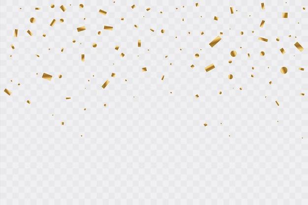 Złote Konfetti Na Przezroczystym Tle. Uroczystość. Ilustracja. Premium Wektorów