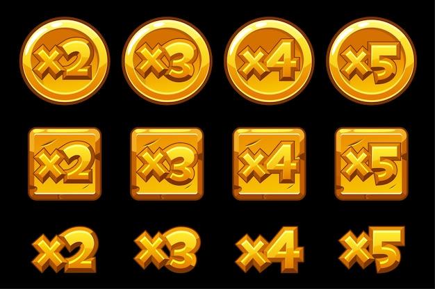 Złote Liczby Bonusowe Na Kwadratach Okrągłych Tablic. Zestaw Liczb Pomnożonych Przez Złoto Do Gry. Darmowych Wektorów