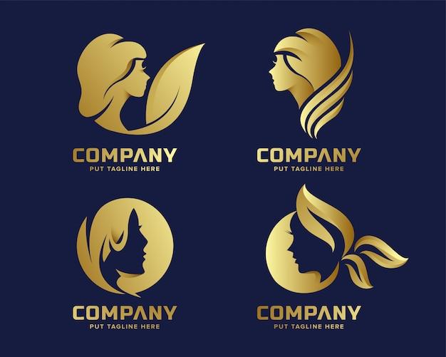 Złote Logo Eleganckiego Piękna Premium Wektorów
