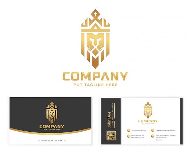 Złote logo lion king z wizytówką Premium Wektorów