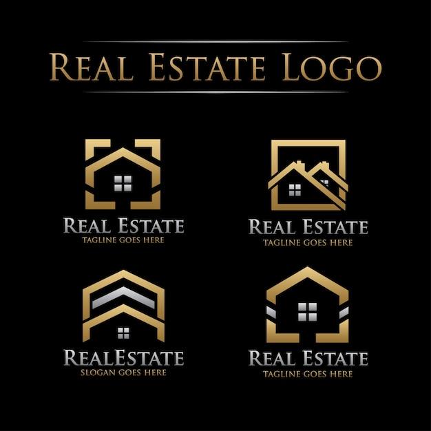 Złote Logo Nieruchomości Premium Wektorów