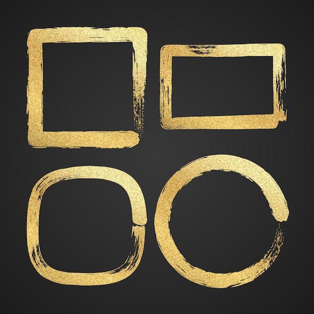Złote Luksusowe Malowane Ramki Graniczne Grunge. Premium Wektorów