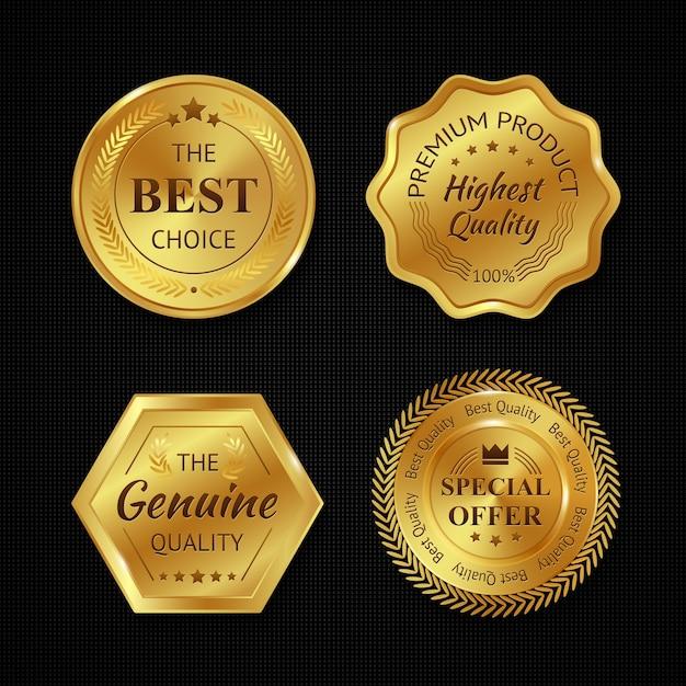 Złote metalowe odznaki Darmowych Wektorów