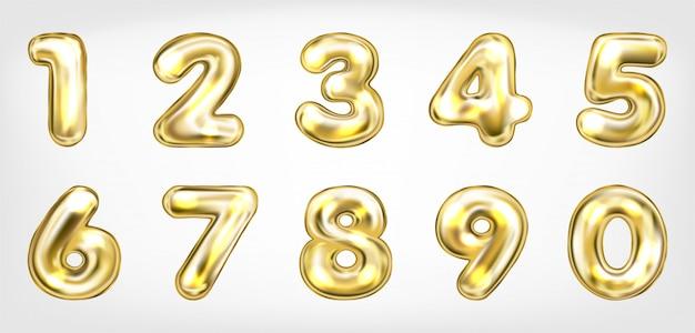 Złote Metalowe Symbole świecące Liczby Premium Wektorów