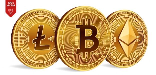 Złote Monety Kryptowaluty Z Bitcoin, Litecoin I Ethereum Symbol Na Białym Tle. Darmowych Wektorów
