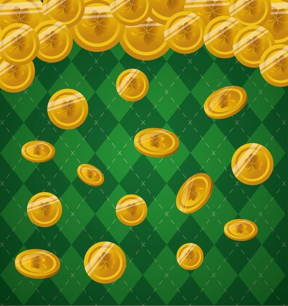 Złote monety spadają na zielono Darmowych Wektorów