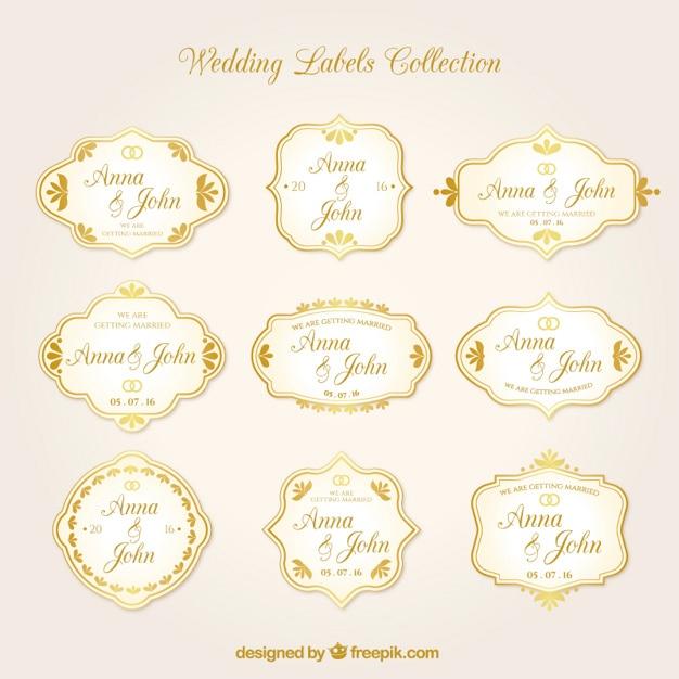 Złote Naklejki ślubne W Zabytkowe Projektowania Darmowych Wektorów