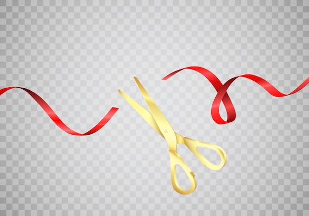 Złote Nożyczki Przecinają Czerwoną Jedwabną Wstążkę. Rozpocznij świętowanie. Uroczyste Otwarcie. Realistyczne Ilustracji Wektorowych Na Białym Tle Premium Wektorów