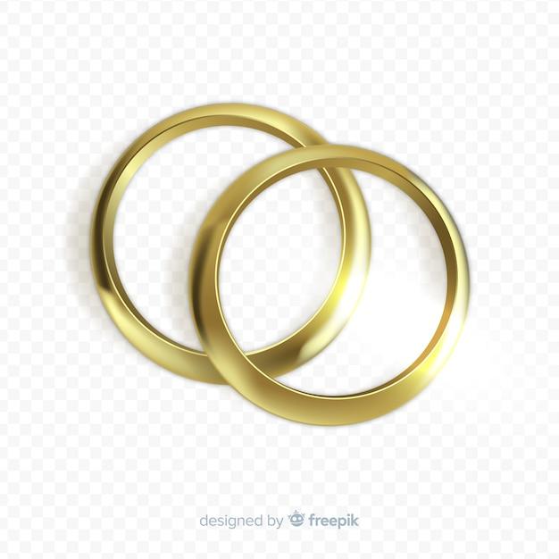 Złote obrączki ślubne realistyczny styl Darmowych Wektorów