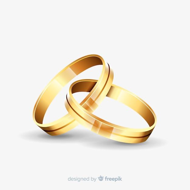 Złote Obrączki ślubne W Realistycznym Stylu Premium Wektorów