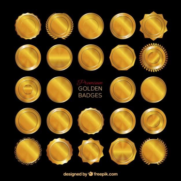 Złote Odznaki Premium Premium Wektorów