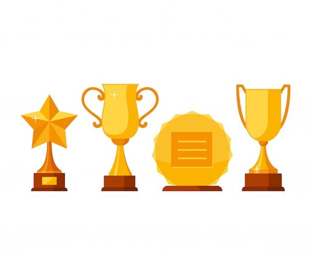 Złote puchary i nagrody zdobywca trofeum Premium Wektorów