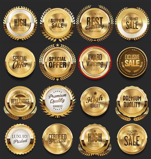 Złote retro vintage odznaki i etykiety Premium Wektorów