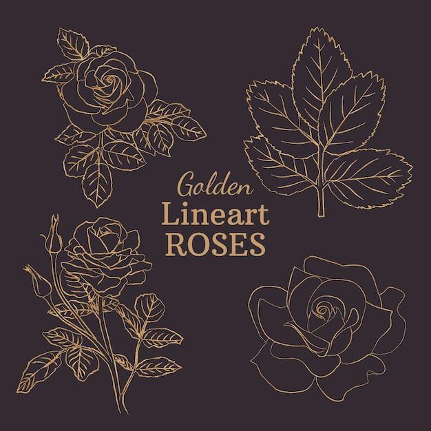 Złote Róże Lineart Premium Wektorów
