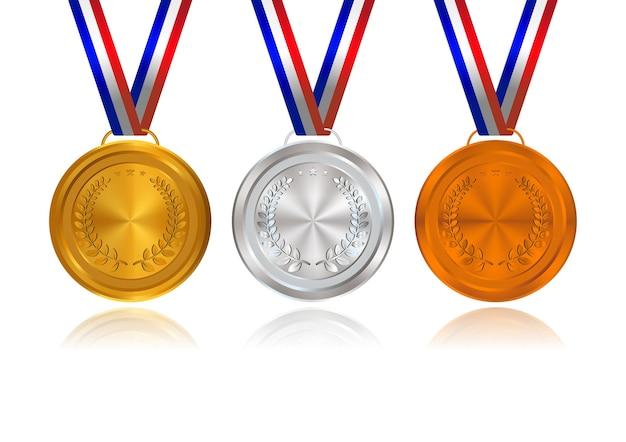 Złote, Srebrne, Brązowe Medale Z Wstążkami Premium Wektorów