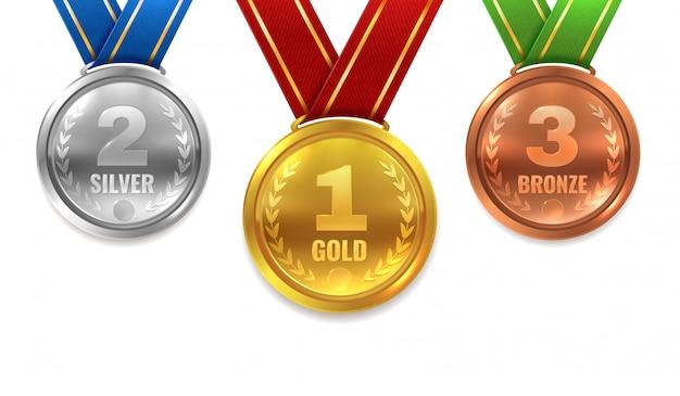 Złote Srebrne Brązowe Medale. Zwycięzca Błyszczący Okrąg Medal Honor Honor Mistrz Ceremonia Nagrody Trofeum Miejsce Sport Wstążka Najlepsza Nagroda Premium Wektorów