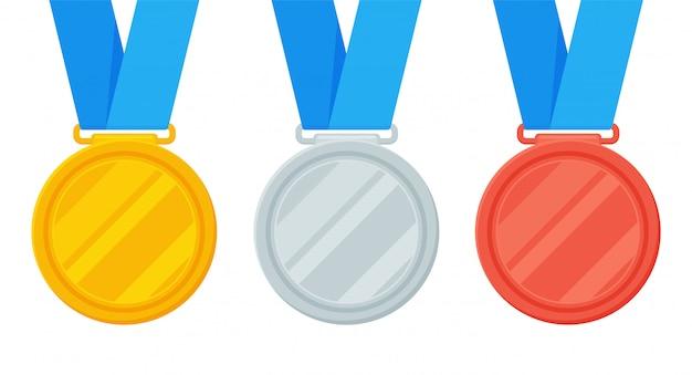 Złote, Srebrne I Brązowe Medale Są Nagrodą Zwycięzcy Wydarzenia Sportowego. Premium Wektorów