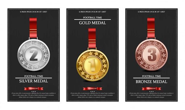 Złote, Srebrne I Brązowe Medale Premium Wektorów