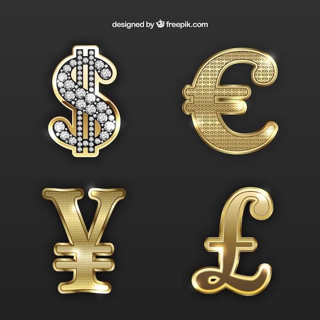 Złote Symbole Pieniądze Premium Wektorów