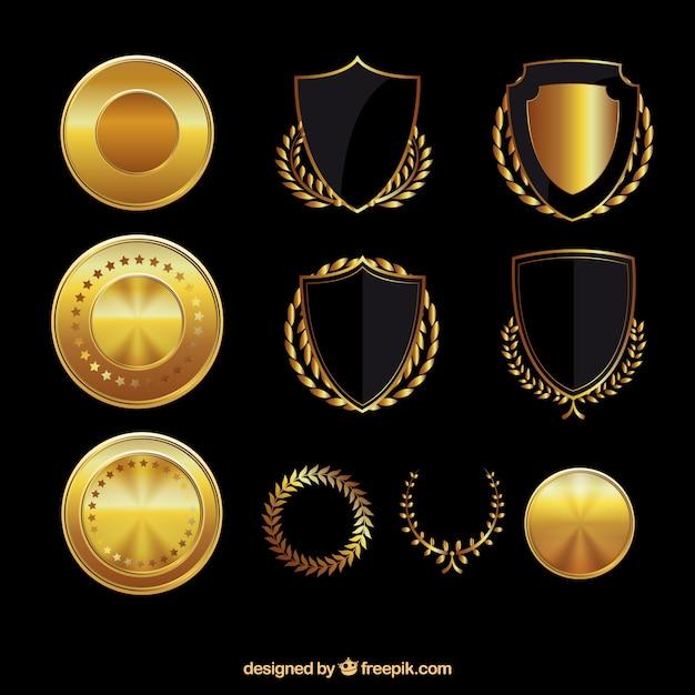 Złote tarcze i medale Darmowych Wektorów