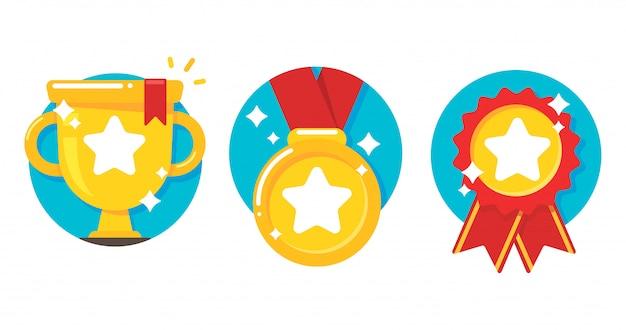 Złote Trofeum I Medale Premium Wektorów
