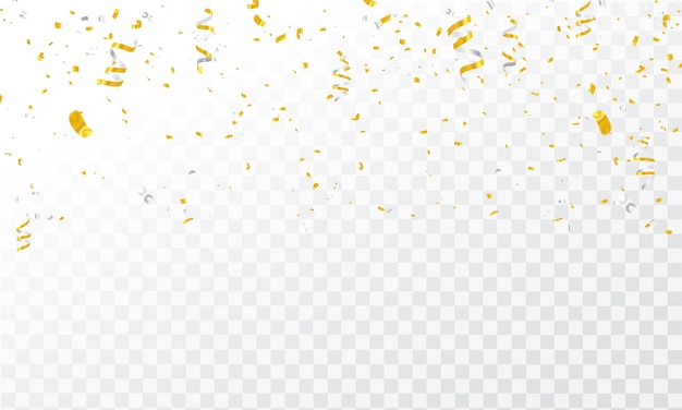 Złote wstążki konfetti. Premium Wektorów