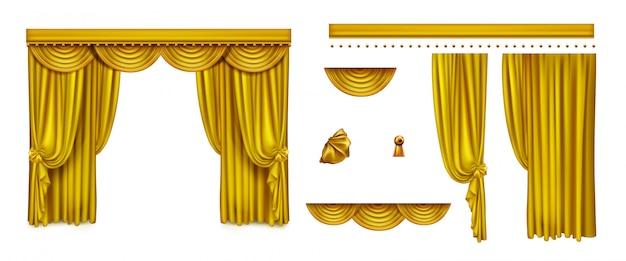 Złote Zasłony Na Scenę Teatralną Lub Kino Darmowych Wektorów
