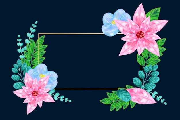 Złotej Ramie Z Zimowych Kwiatów Koncepcji Darmowych Wektorów