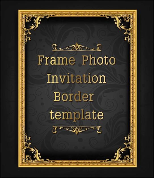 Złoto granicy ramki zdjęcie szablon wektor wzór Premium Wektorów