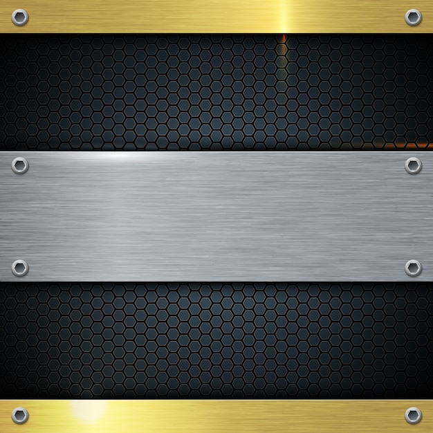Złoto i metalowa bryła abstrakcyjne tło. Premium Wektorów