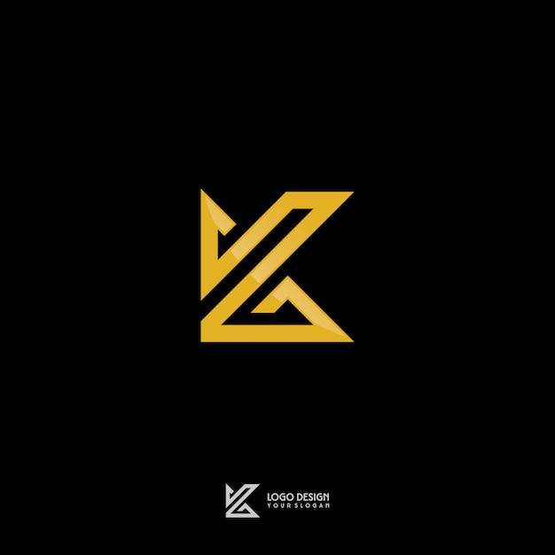 Złoto Monogram K Symbol Logo Design Premium Wektorów