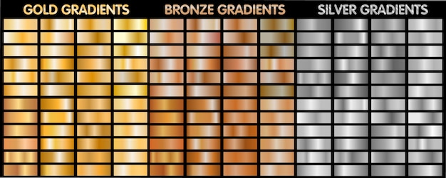 Złoto, Srebro, Brąz Metaliczne Gradienty. Premium Wektorów