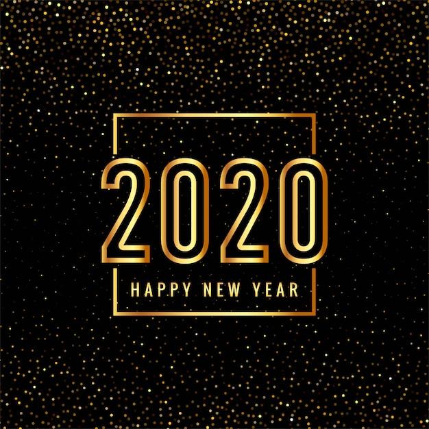 Złoty 2020 Szczęśliwego Nowego Roku Tekst Dla Brokatów Darmowych Wektorów