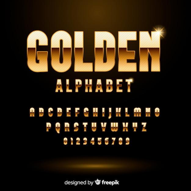Złoty alfabet Darmowych Wektorów