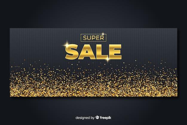 Złoty Banner Promocyjny Sprzedaży Szablon Premium Wektorów